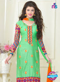 SC 13054 Green and Orange Embroidered Glace Cotton Straight Suit Online