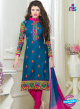 SC 13062 Blue and Magenta Embroidered Glace Cotton Straight Suit