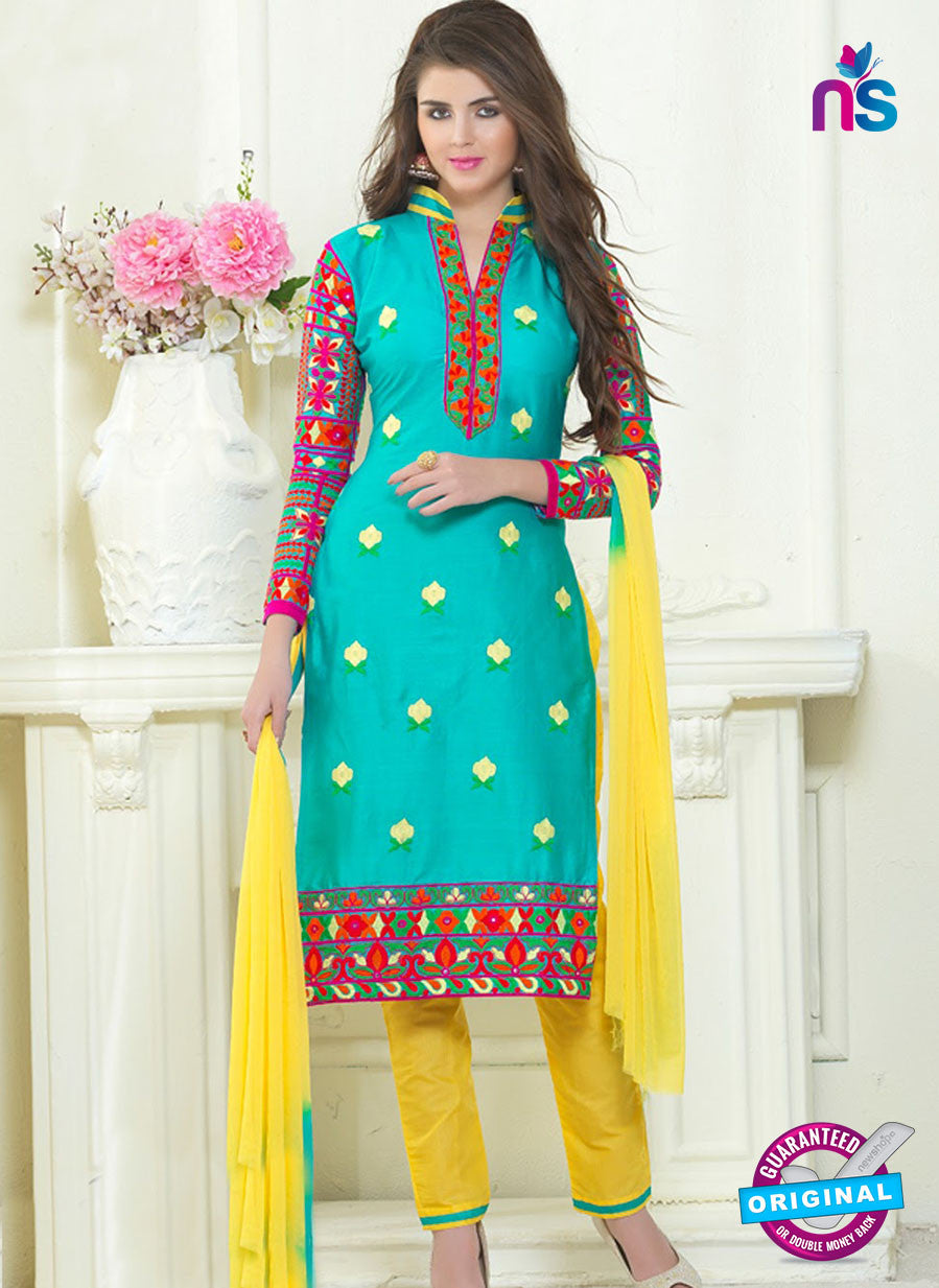 SC 13061 Sea Green and Yellow Embroidered Glace Cotton Straight Suit