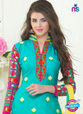 SC 13061 Sea Green and Yellow Embroidered Glace Cotton Straight Suit Online