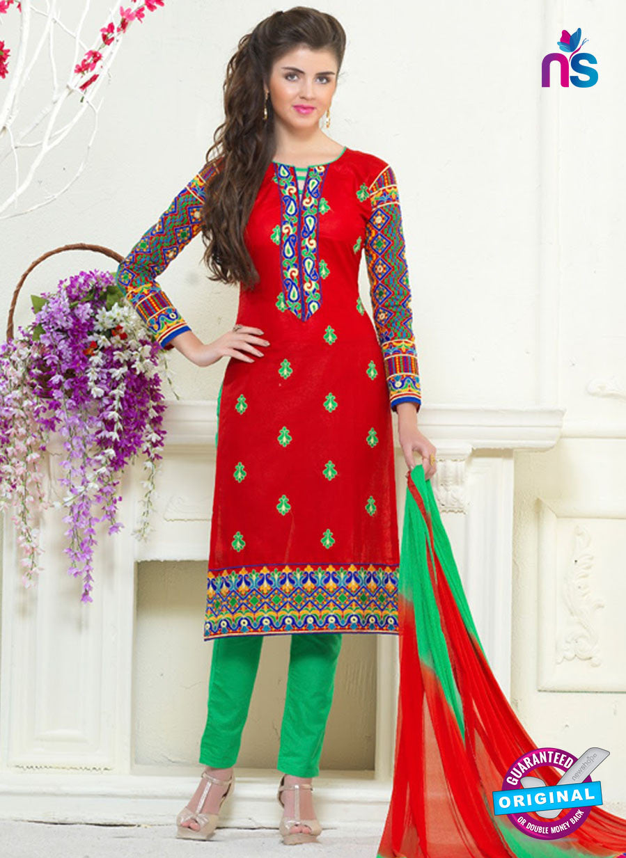 SC 13055 Red and Green Embroidered Glace Cotton Straight Suit