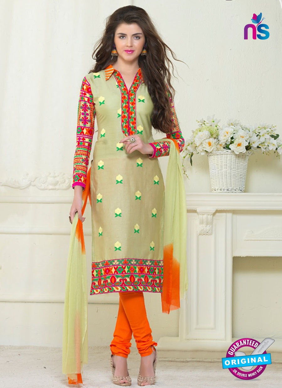 SC 13058 Beige and Orange Embroidered Glace Cotton Straight Suit