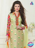 SC 13058 Beige and Orange Embroidered Glace Cotton Straight Suit Online
