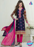 SC 13059 Blue and Pink Embroidered Glace Cotton Straight Suit