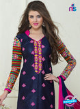SC 13059 Blue and Pink Embroidered Glace Cotton Straight Suit Online