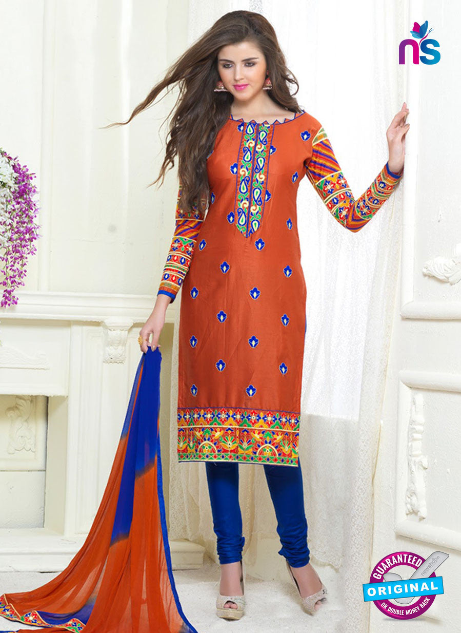 SC 13056 Orange and Blue Embroidered Glace Cotton Ocassional Wear Straight Suit