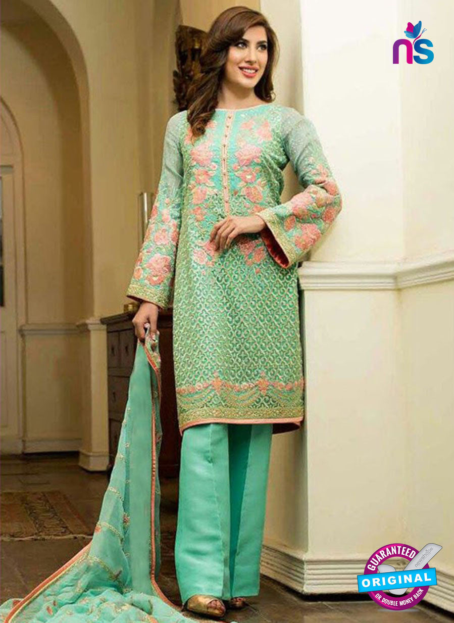 SC 12281 Sea Green and Pink Embroidered Faux Georgette Party Wear Designer Suit