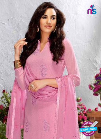 pink georgette designer straight suit