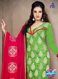 NS12212 Green and Red Chudidar Suit