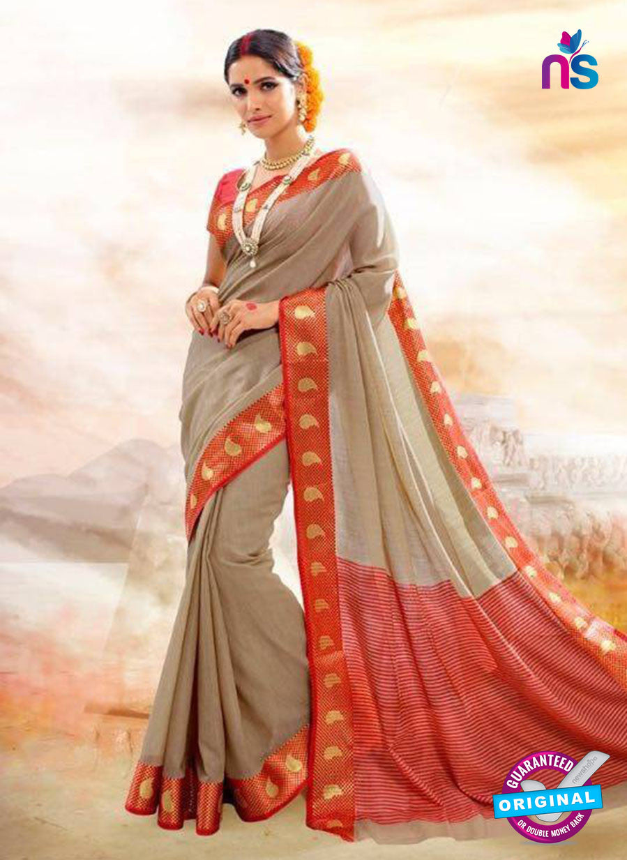 SC 14145  Beige Designer  Khadi Silk Formal Saree