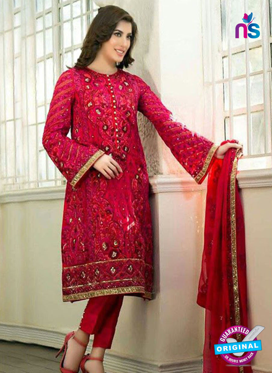 SC 12282 Red and Golden Embroidered Faux Georgette Party Wear Designer Suit