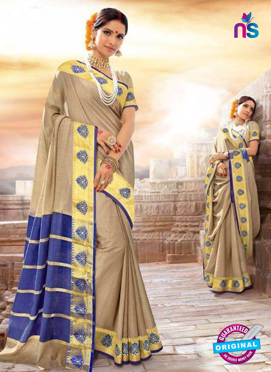 SC 14154 Beige Designer Khadi Silk Formal Saree