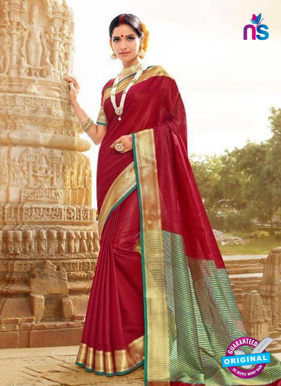 SC 14155 Maroon Designer Khadi Silk Formal Saree