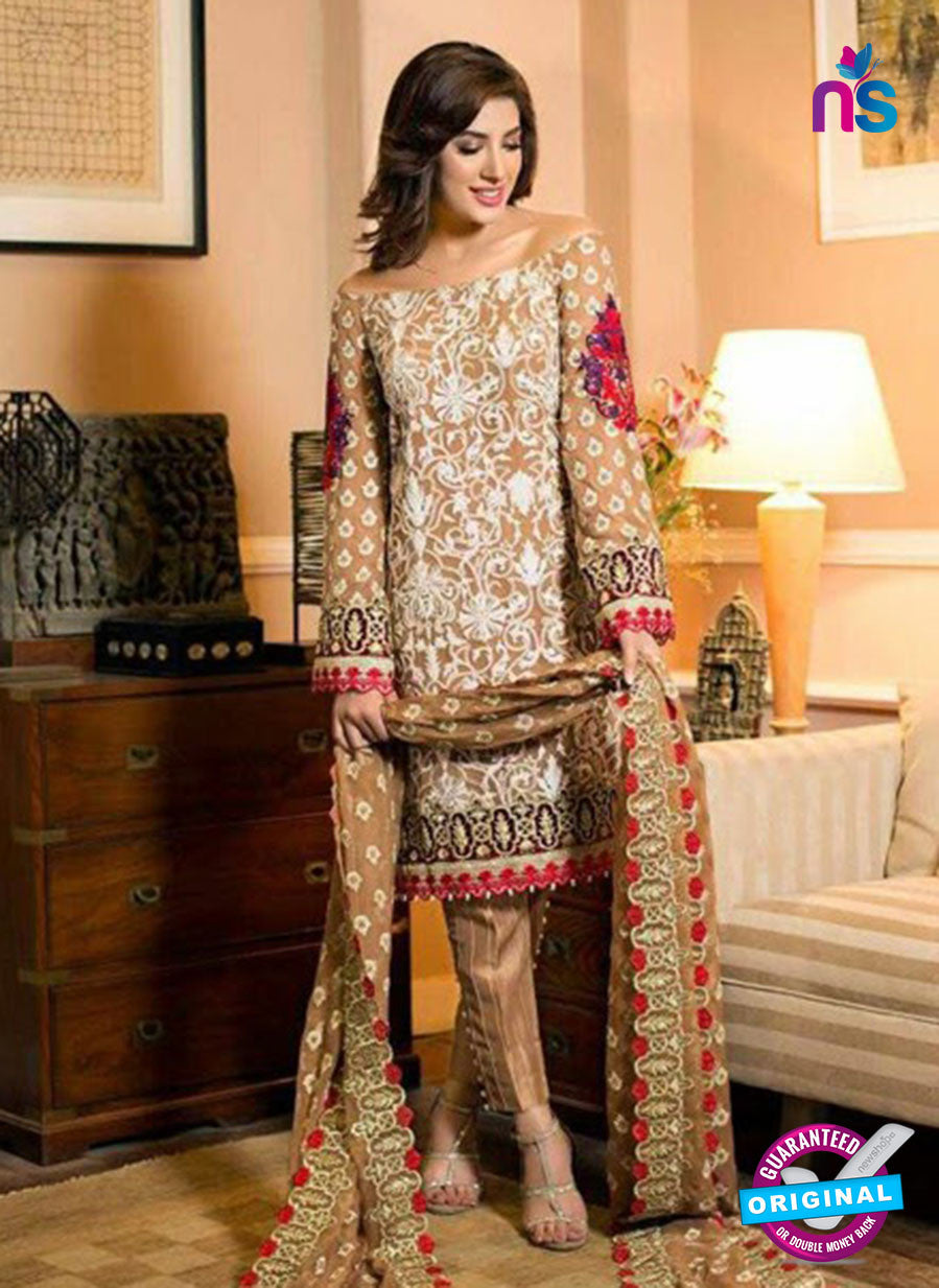 SC 12284 Brown and White Embroidered Faux Georgette Party Wear Designer Suit