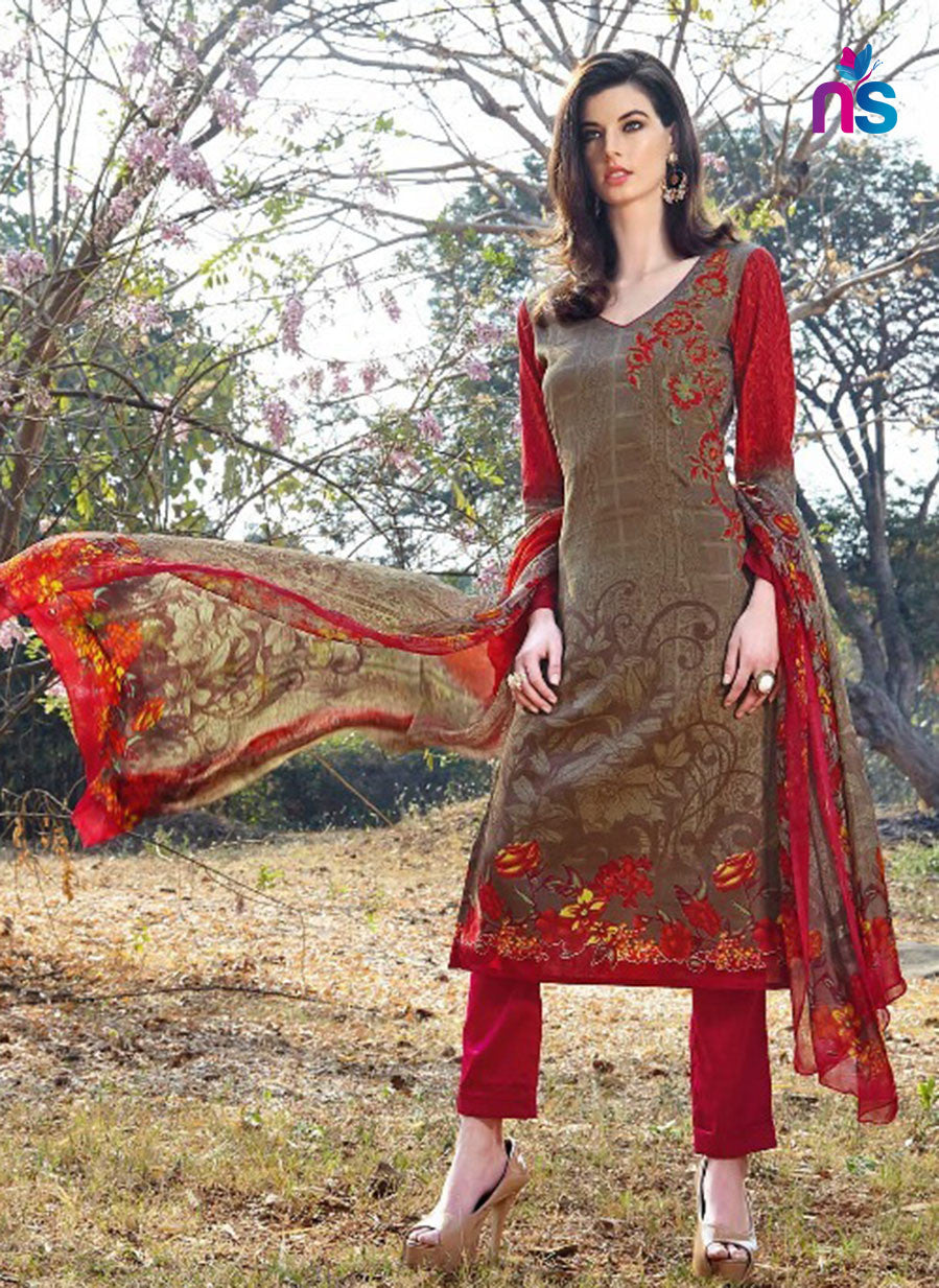 Kalakirti2209 Red & Grey Color Glace Cotton Designer Suit