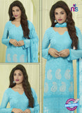 SC 13487 Sky Blue Chiffon Designer Traditional Exclusive Party Wear Un-stitched Straight Suit