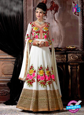 AZ 3608 White Georgette Anarkali Suit