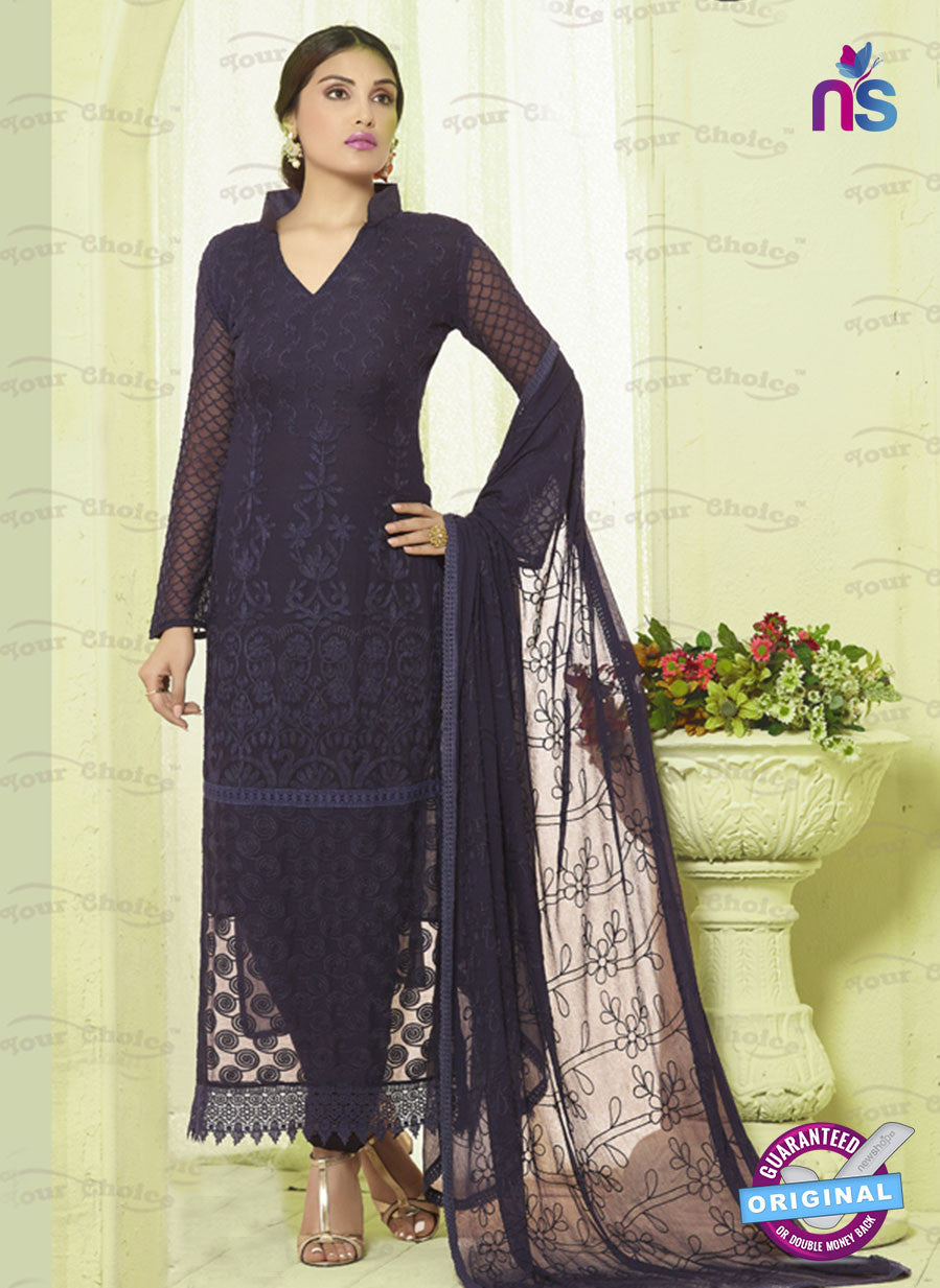 SC 13488 Blue Chiffon Designer Traditional Exclusive Party Wear Un-stitched Straight Suit