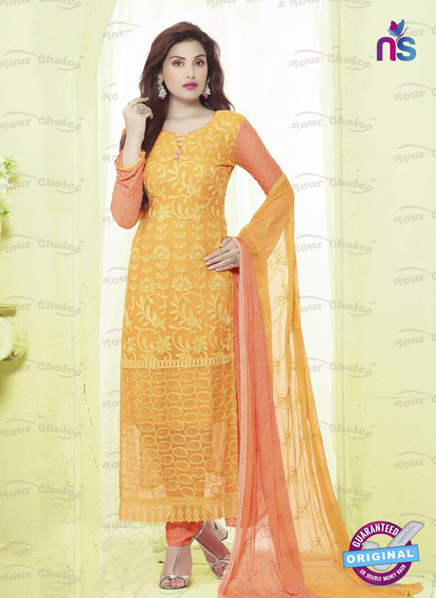 SC 13489 Yellow and Orange Designer Traditional Exclusive Party Wear Un-stitched Straight Suit