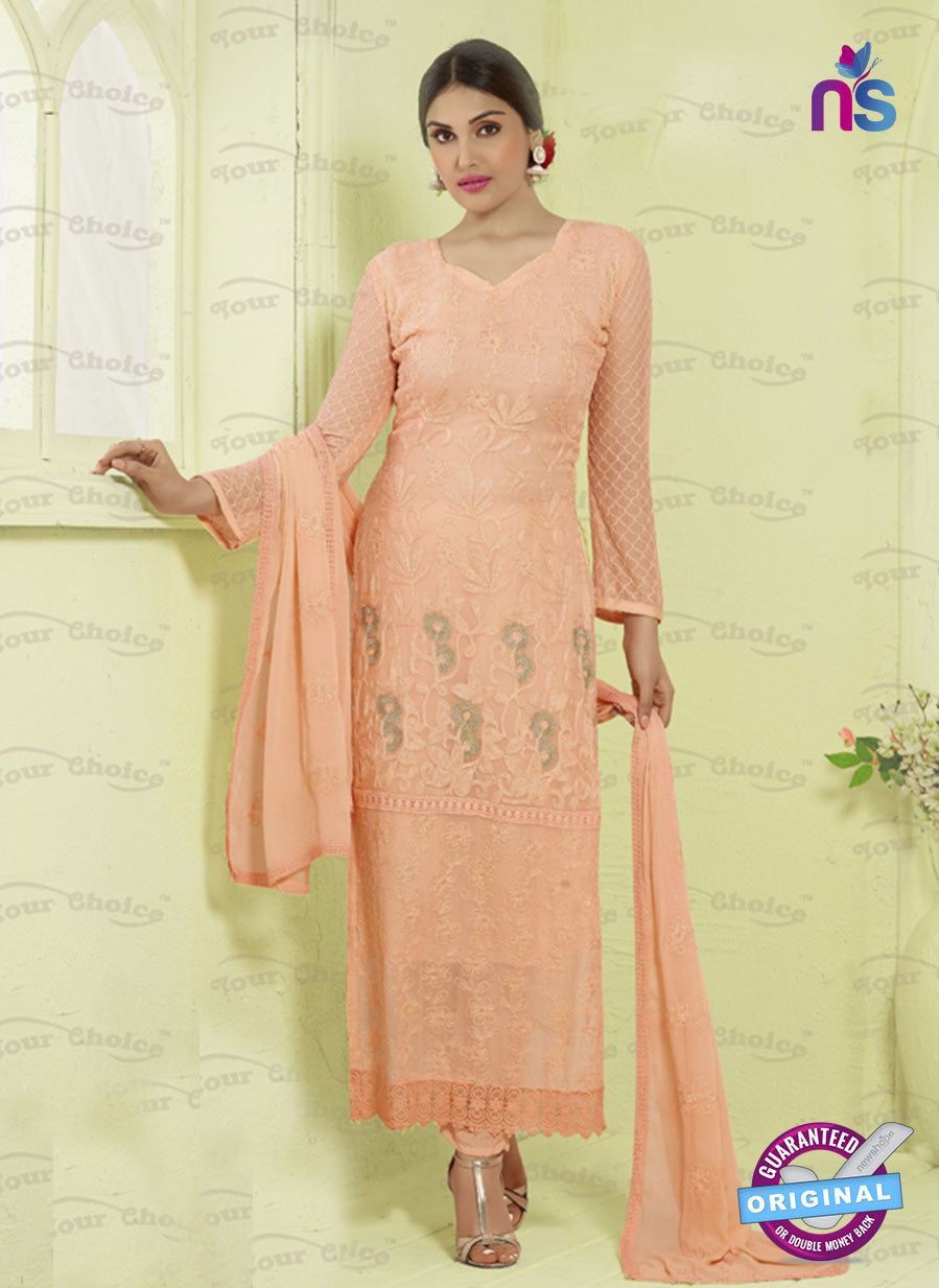 SC 13490 Peach Designer Traditional Exclusive Party Wear Un-stitched Straight Suit