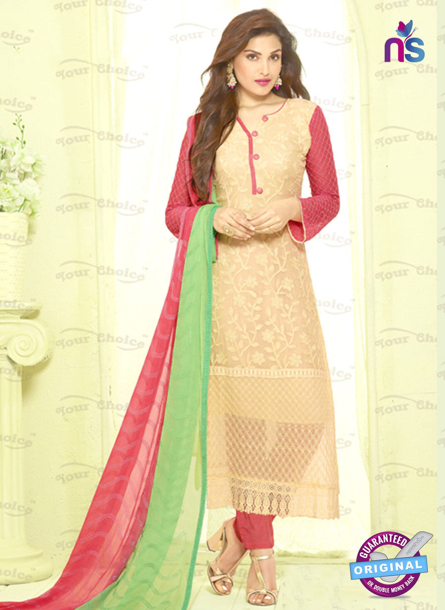 SC 13492 Beige Designer Traditional Exclusive Party Wear Un-stitched Straight Suit