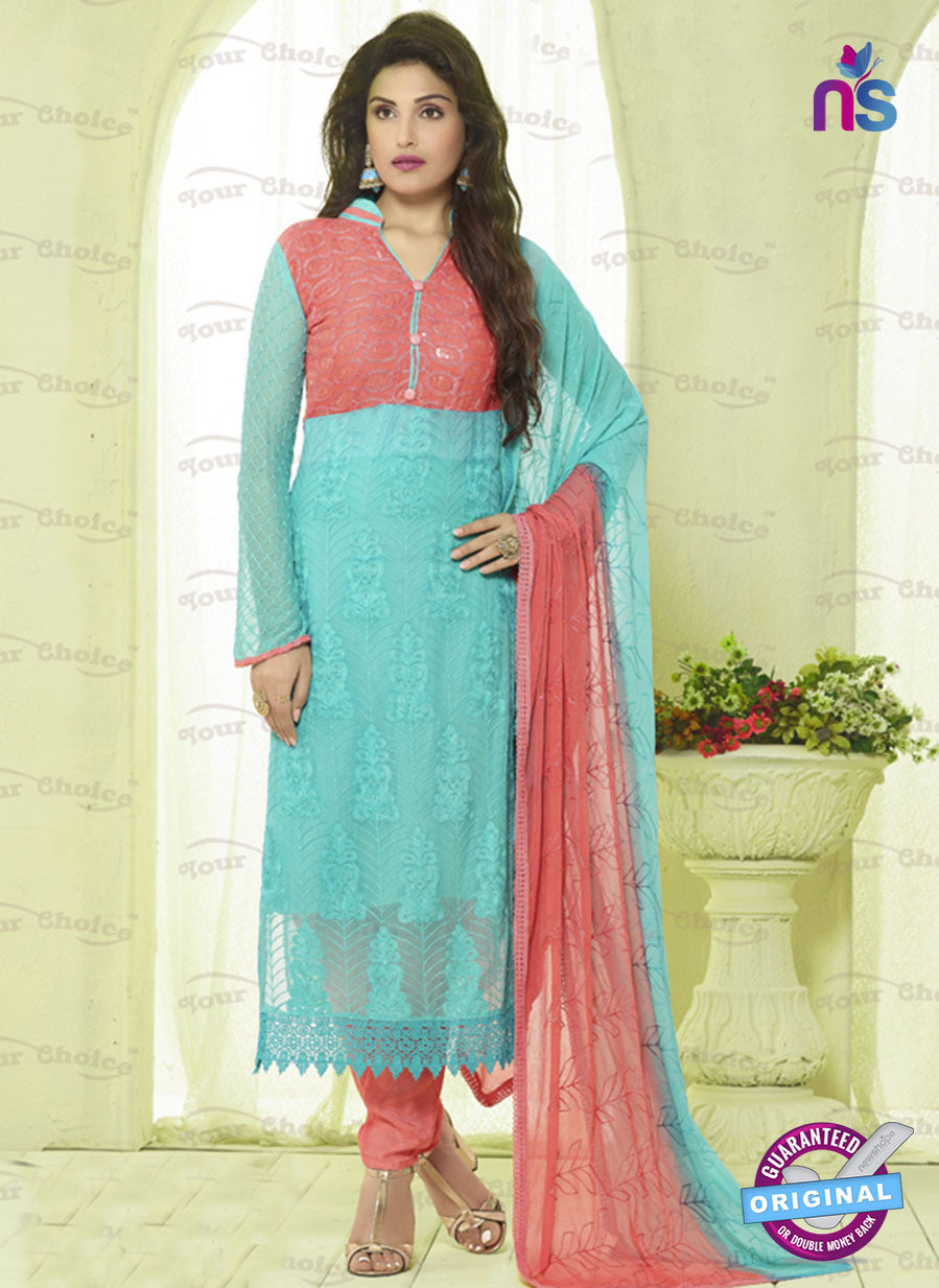 SC 13495 Sky Blue and Peach Designer Traditional Exclusive Party Wear Un-stitched Straight Suit