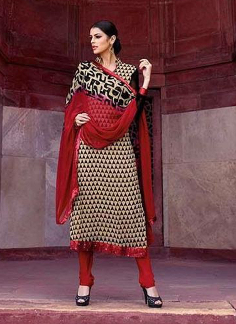 Omtex 222B Maroon Color Georgette Designer Suit