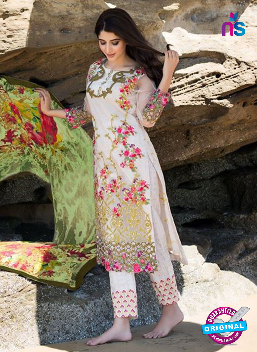 SC 12271 White and Multicolor Printed Lawn Cotton with Heavy Work Pakistani Suit