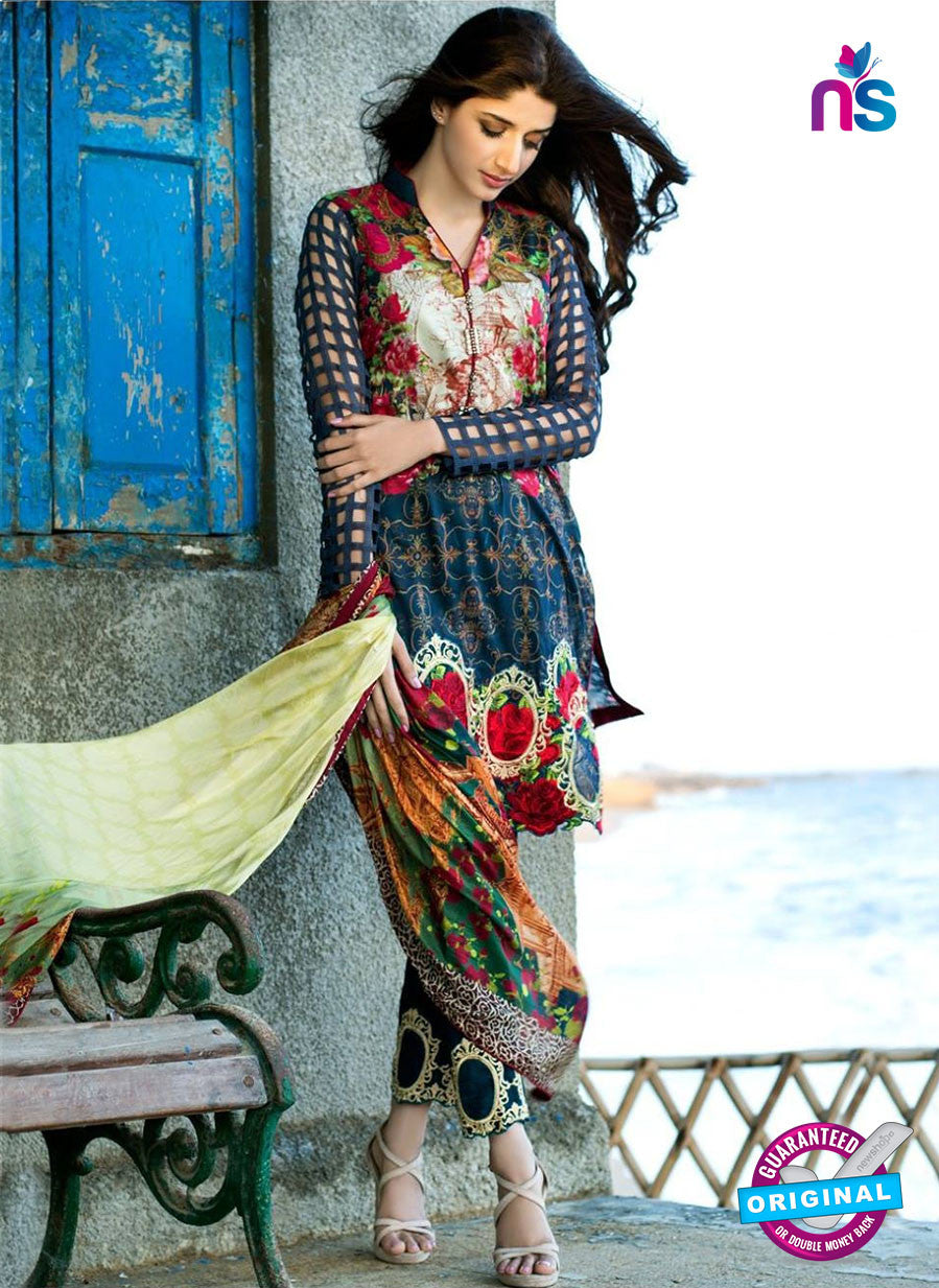 SC 12270 Blue and Multicolor Printed Lawn Cotton Pakistani Suit