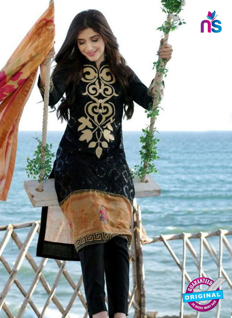 SC 12269 Black and Beige Printed Lawn Cotton Pakistani Suit