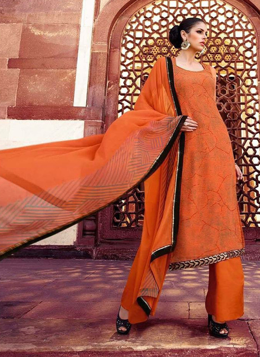 Omtex 223A Orange Color Georgette Designer Suit