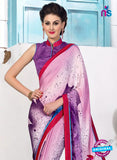 NS 12394 Purple and Red Silk Crape Party Wear/Casual Wear Saree