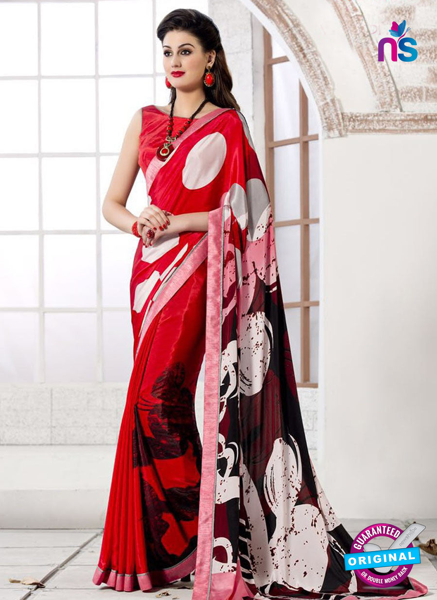 NS 12399 Red and Black Silk Crape Party Wear/Casual Wear Saree