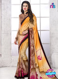 NS 12395 Yellow, Brown and Pink Silk Crape Party Wear/Casual Wear Saree