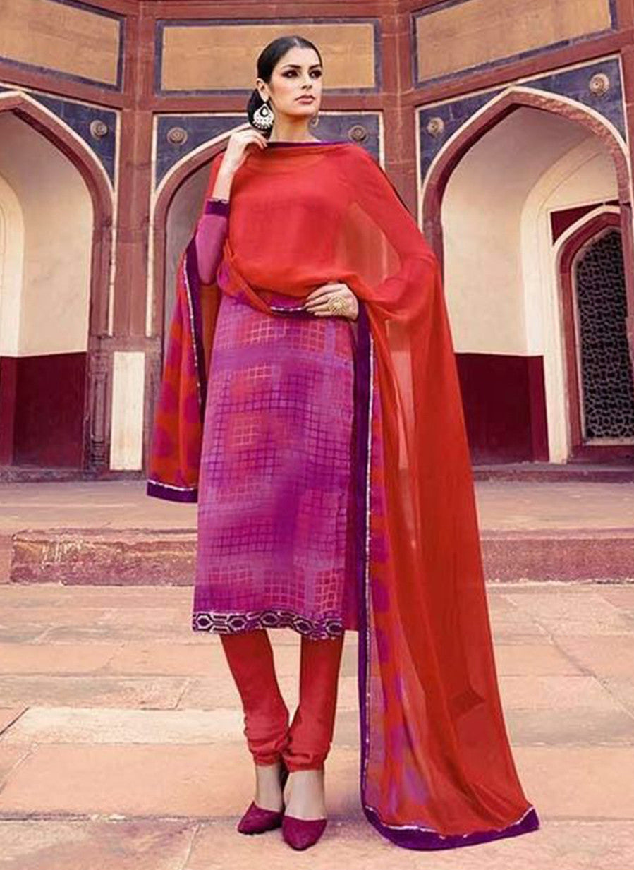 Omtex 225B Purple Color Georgette Designer Suit