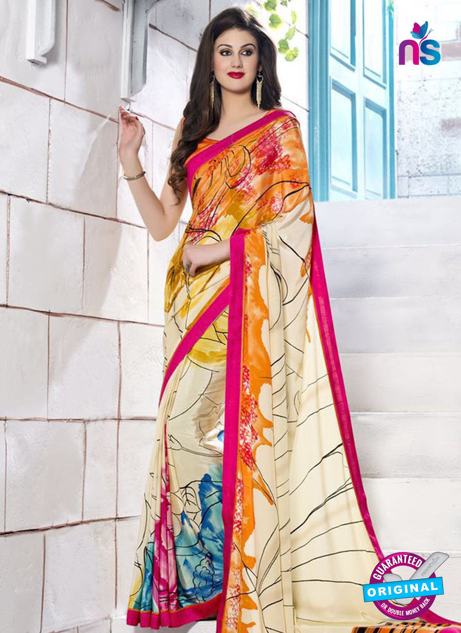 NS 12398 Beige and Multicolor Silk Crape Party Wear/Casual Wear Saree