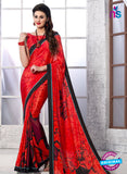 NS 12396 Red and Black Silk Crape Party Wear/Casual Wear Saree