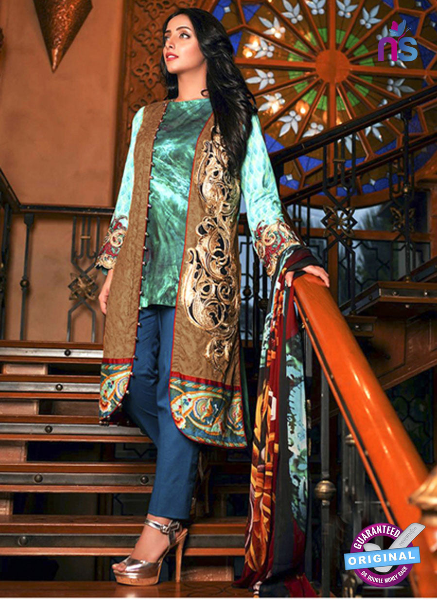 SC 13682 Sea Green and Brown Glace Soft Cotton Designer Fancy Exclusive Pakistani Salwar Suit