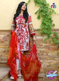 SC 13687 Red Glace Soft Cotton Designer Fancy Exclusive Pakistani Salwar Suit