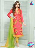 SC 13843 Pink and Yellow Designer Fancy Exclusive Straight Pakistani Suit
