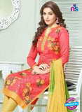 SCESZ 13843 Pink and Yellow Designer Fancy Exclusive Straight Pakistani Suit