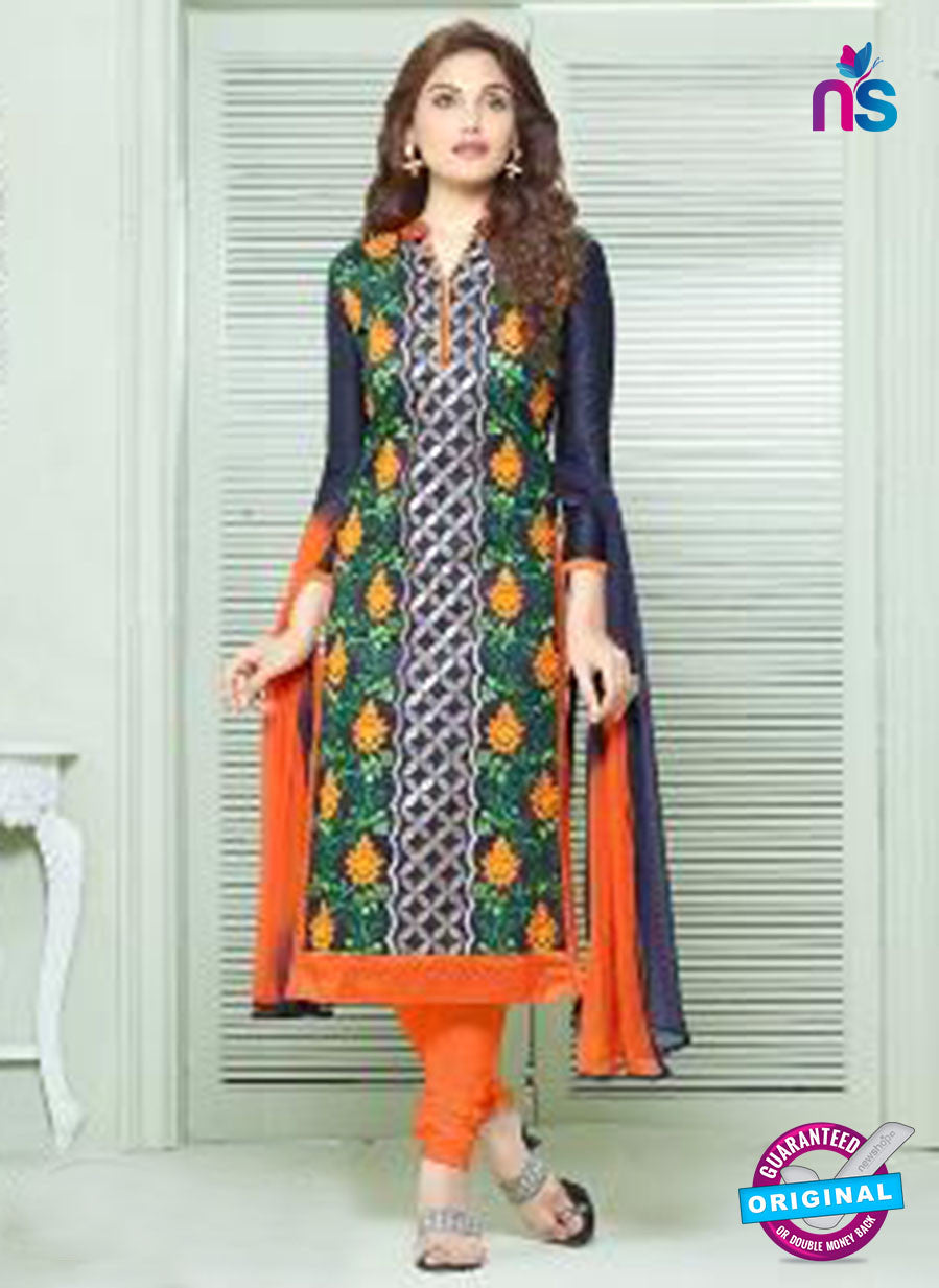 SC 13838 Blue and Orange Glace Cotton Designer Fancy Exclusive Straight Pakistani Suit