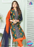 SCESZ 13838 Blue and Orange Glace Cotton Designer Fancy Exclusive Straight Pakistani Suit