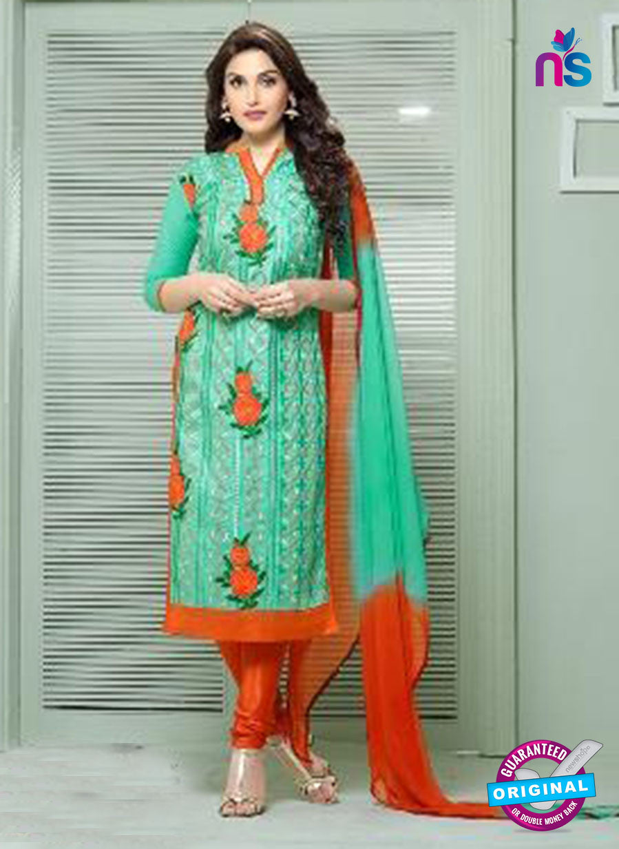 SC 13840 Green and Orange Glace Cotton Designer Fancy Exclusive Straight Pakistani Suit