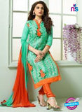 SC 13840 Green and Orange Glace Cotton Designer Fancy Exclusive Straight Pakistani Suit Online