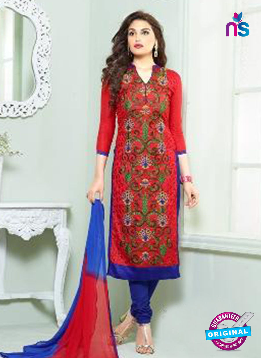 SC 13839 Red and Blue Glace Cotton Designer Fancy Exclusive Straight Pakistani Suit
