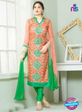 SC 13837 Peach and Green Glace Cotton Designer Fancy Exclusive Straight Pakistani Suit