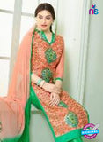 SCESZ 13837 Peach and Green Glace Cotton Designer Fancy Exclusive Straight Pakistani Suit