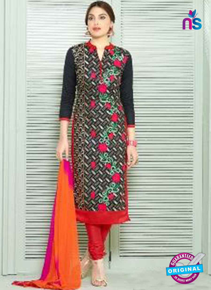 SC 13841 Black and Red Glace Cotton Designer Fancy Exclusive Straight Pakistani Suit
