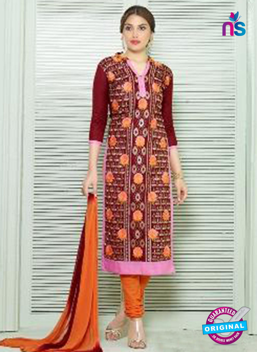SC 13835 Maroon and Orange Glace Cotton Designer Fancy Exclusive Straight Pakistani Suit